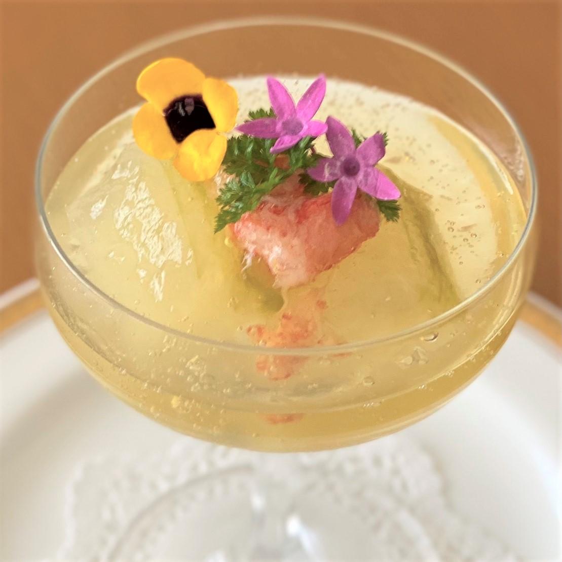 神奈川県三浦産<br>冬瓜と蟹のトマトゼリー寄せ